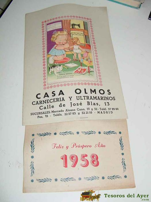Calendario Del Ano 1958.Tesorosdelayer Com Papel Antiguo Calendarios Antiguo